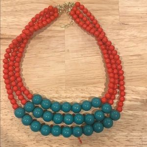 Red and teal bead necklace